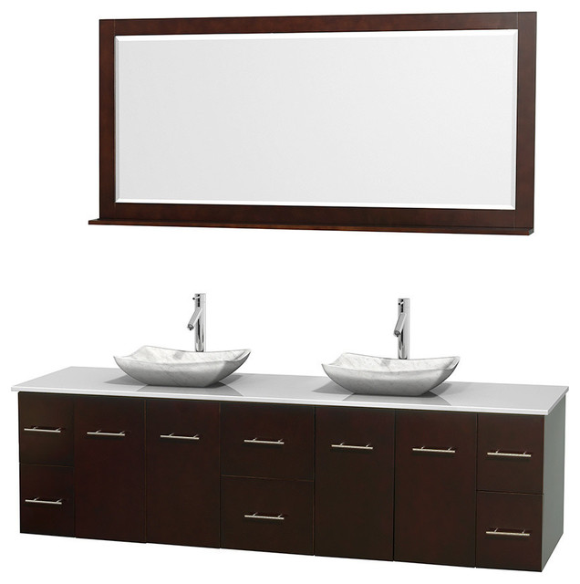 80 Double Bathroom Vanity In Espresso White Man Made Stone Countertop