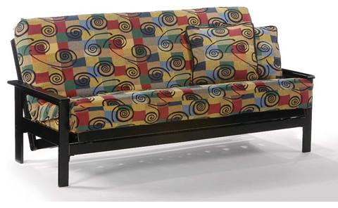 Albany black full futon frame modern day beds for Albany st germain sectional sofa chaise