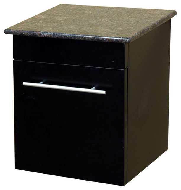 Solid Wood Wall Mount Side Cabinet, Black, Baltic Brown - Transitional - Bathroom Cabinets And ...