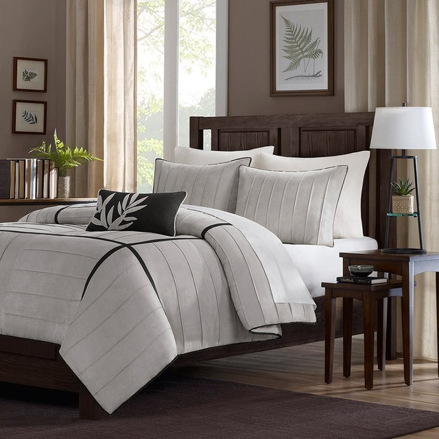 Home essence lancaster 4 piece comforter set gray - Linge de lit contemporain ...