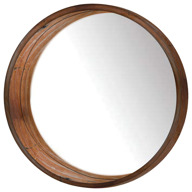 mamie round wooden wall mirror brown wall mirrors by. Black Bedroom Furniture Sets. Home Design Ideas