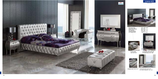 Lorena Modern Silver Bedroom Set Bed Dresser Mirror And
