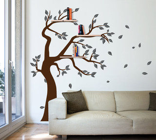 shelving tree decal with owl and falling leaves