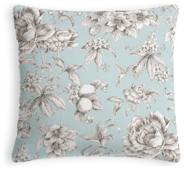 light blue floral toile custom pillow traditional. Black Bedroom Furniture Sets. Home Design Ideas