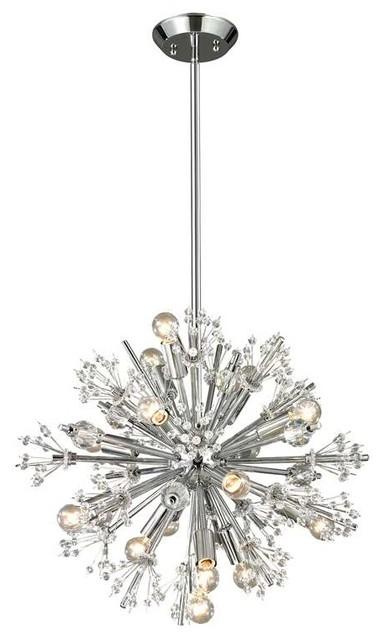 elk lighting 11750  15 starburst modern chandelier in polished chrome