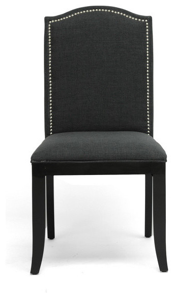 Baudette Gray Fabric Modern Dining Chair Set Of 2