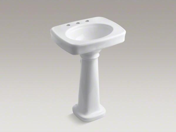 Kohler Bancroft R 24 Pedestal Bathroom Sink With 8 Widespread Faucet Holes Contemporary