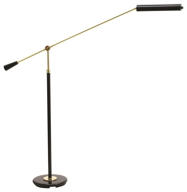 House of troy black piano floor led with polished brass for Led piano floor lamp