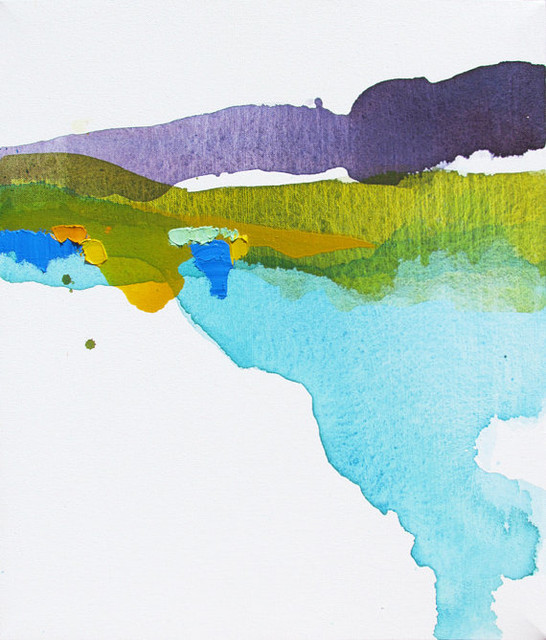 Colorful minimalist abstract landscape painting by lauren for Minimal art landscape