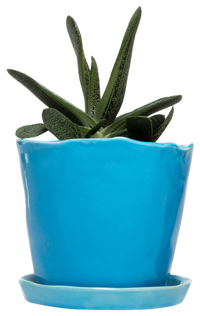 Lori Large Planter Azure Contemporary Indoor Pots