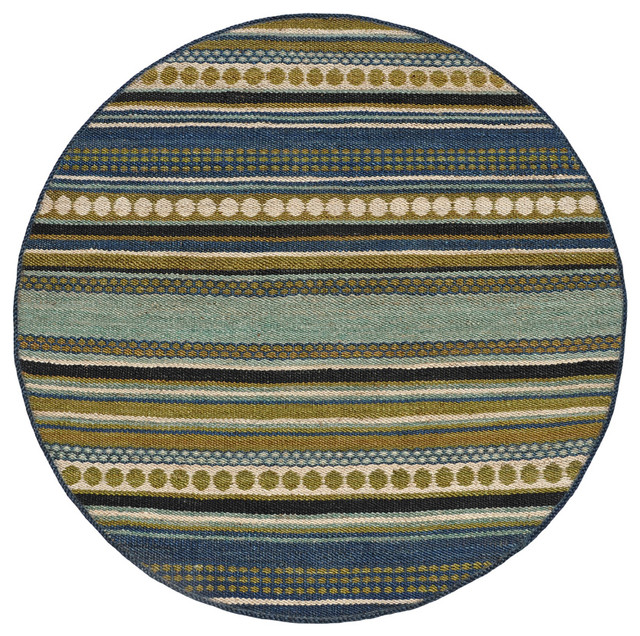Hand woven sindhi blue jute rug 6 39 round contemporary for Decor international handwoven rugs