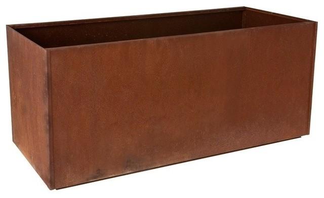 Nice corten steel trough corten 16x46 modern outdoor pots and
