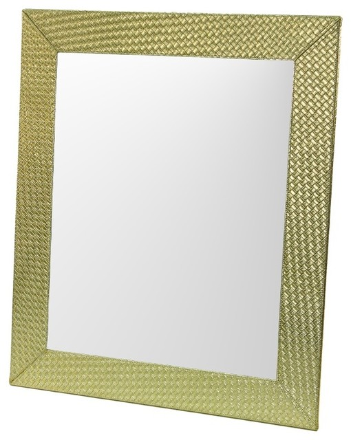 gold faux leather frame mirror with horizontal or vertical