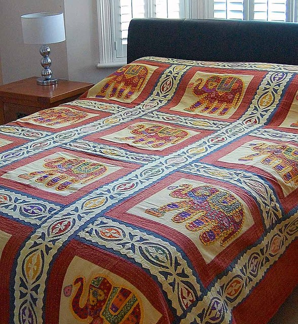 Traditional indian furniture design - Elephant Applique Indian Bedspread Asian Bedspreads London By