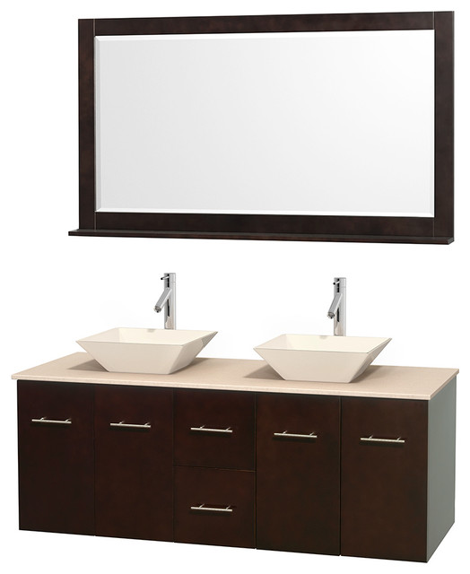 Centra 60 Espresso Double Bathroom Vanity Ivory Marble Top Bone Porcel