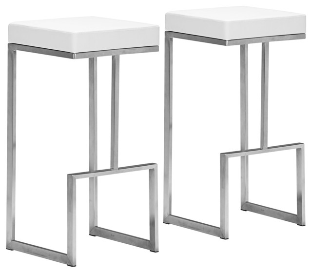 set of 2 zuo modern darwen 30 high white bar stools