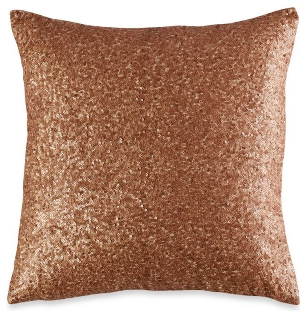 Vince camuto rose gold square toss pillow contemporary decorative pillows by bed bath beyond - Bedroom throw pillows ...