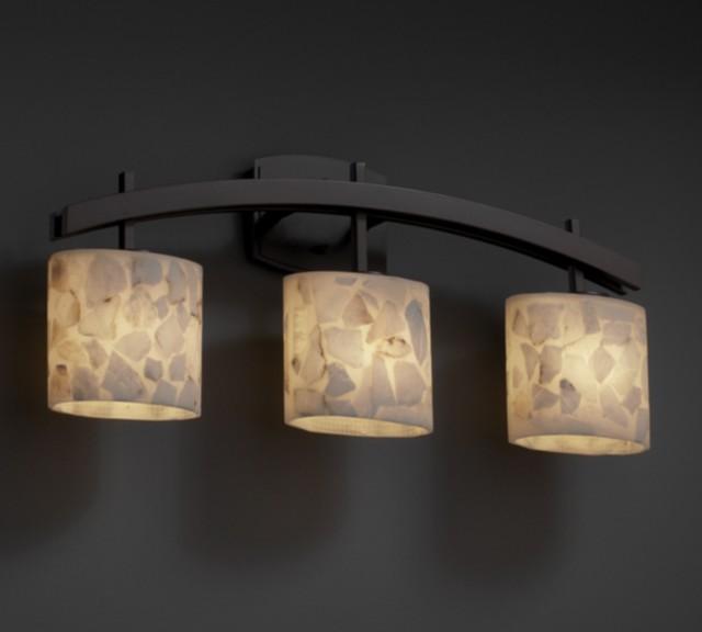 Justice Bathroom Lighting: Archway Alabaster Rocks 3 Light Bathroom Vanity Bar By