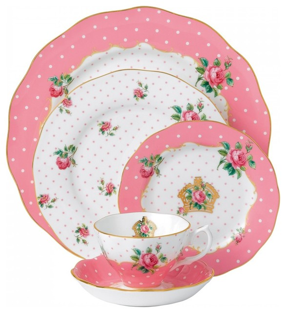 Royal albert new country roses cheeky pink 5 piece place for Kitchen set royal