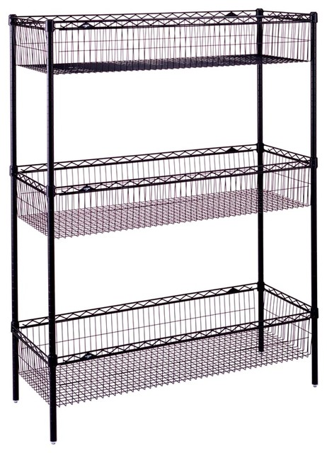 wire storage unit w basket shelves in black contemporary. Black Bedroom Furniture Sets. Home Design Ideas
