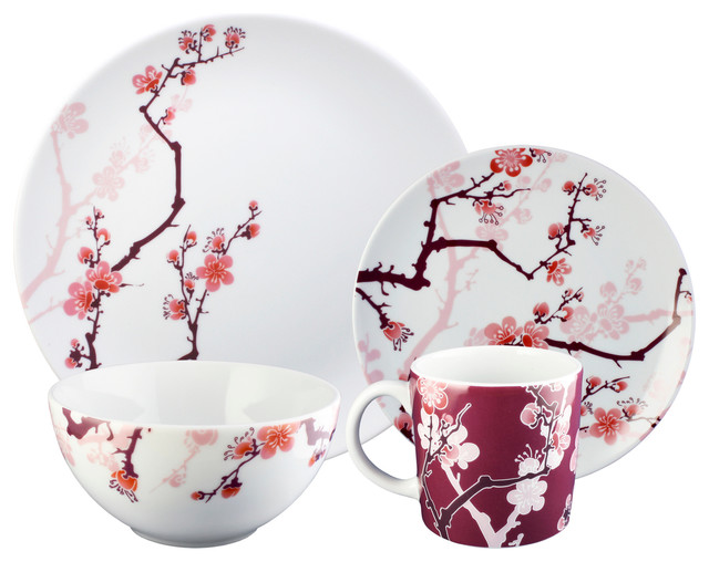 Paul Timman Cherry Ink 16 Piece Dinnerware Set Asian