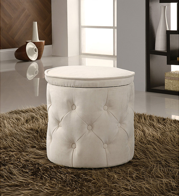 Tufted fabric beige round storage ottoman contemporary footstools and ottomans by Round ottoman coffee table with storage
