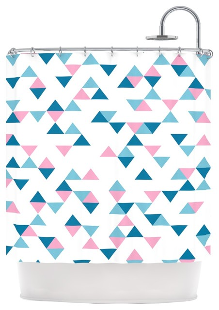 project m triangles pink blush blue shower curtain