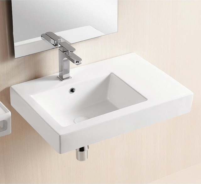 Wall Mounted Ceramic Sink With Counter Space - Modern - Bathroom Sinks ...