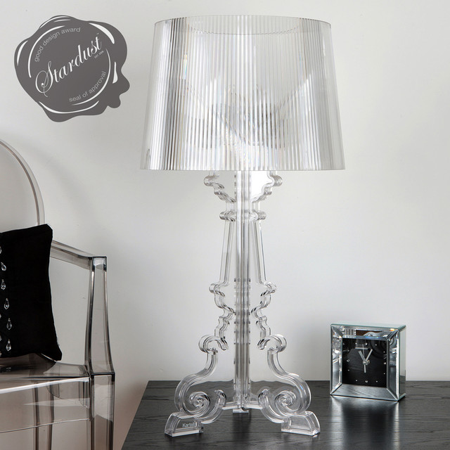 Bedroom Design Idea With Transparent Bourgie Table Lamp And Louis Ghost Chair Contemporary