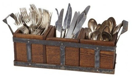 Vintage Wood and Metal Silverware Caddy - Rustic - Utensil ...