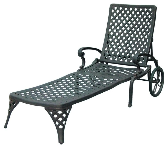 Darlee nassau cast aluminum patio chaise lounge antique for Bronze chaise lounge
