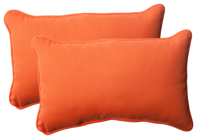 Sundeck Rectangle Throw Pillows, Set of 2, Orange - Contemporary - Garden Cushions - by Pillow ...