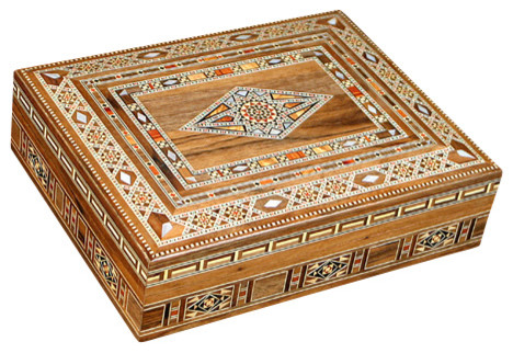 Syrian Walnut Mother of Pearl Mosaic Jewelry Box - Traditional - Jewelry Boxes And Organizers ...