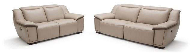 Malvo Beige Full Leath... Modern Sofa With Built In Recliner