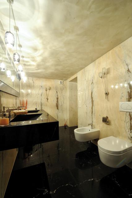 Bathroom   polished nero marquinia marble / polished estremoz ...