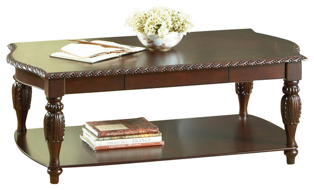 Steve Silver Company Antoinette Rectangular Wood Coffee Table In Cherry Wood Traditional