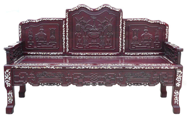 Consigned chinese red rosewood mother of pearl long bench for Asian chaise lounge