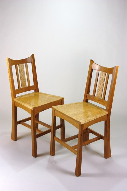 Cherry And Birdseye Maple Counter Height Dining Chairs