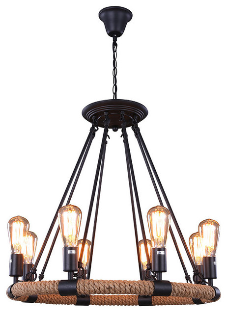 8 lights rustic style hemp rope pendant light with matte for Houzz rustic lighting