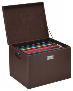 Hanging File Box With Lid, Brown Leatherette - Contemporary - Filing Cabinets - by Great Useful ...