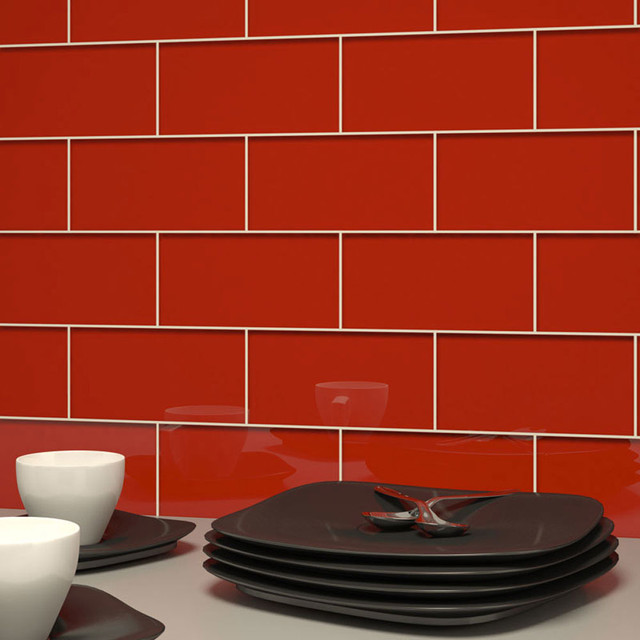subway tile in red blossom 3 x 6 modern tile by