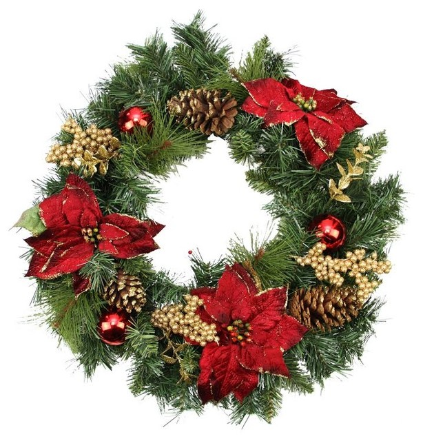 Artificial pine wreath with poinsettias pinecones and for 5ft poinsettia garland christmas decoration