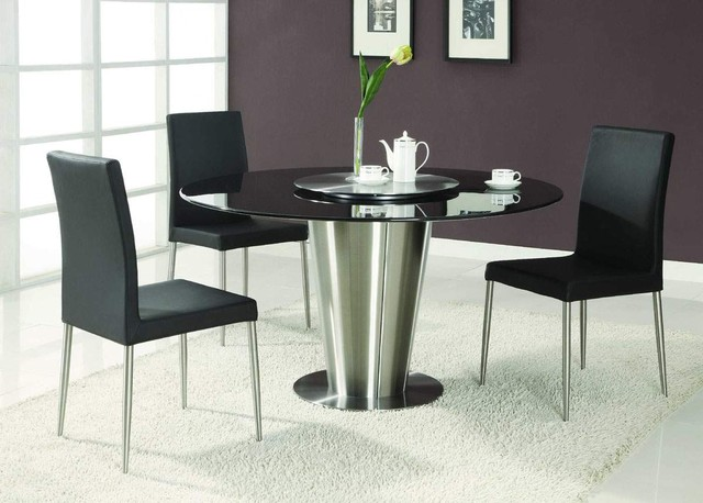 Modern Exclusive Round Marble Top Leather 5 Piece Dining Room Set Modern