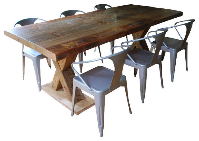 X Beam Reclaimed Wood Pedestal Dining Table Standard 120x48 Contemporary Dining Tables