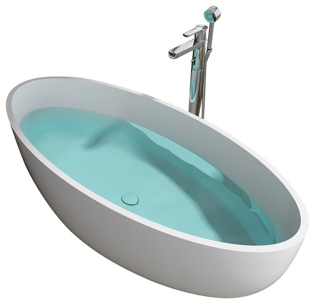 adm white stand alone resin bathtub glossy modern