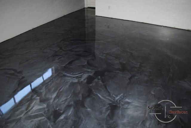 designer metallic epoxy basement floor modern seattle by seattle surfaces. Black Bedroom Furniture Sets. Home Design Ideas