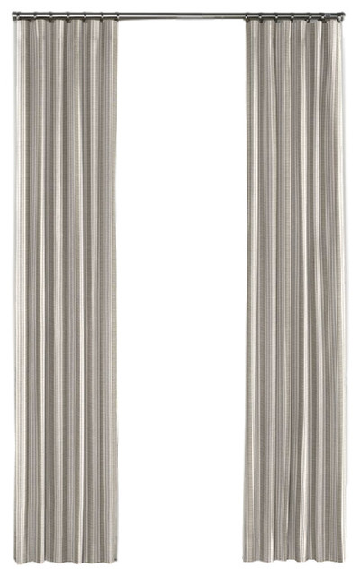 Hand-Woven Gray Stripe Curtain, Single Panel, Ring Top - Contemporary - Curtains - by Loom Decor