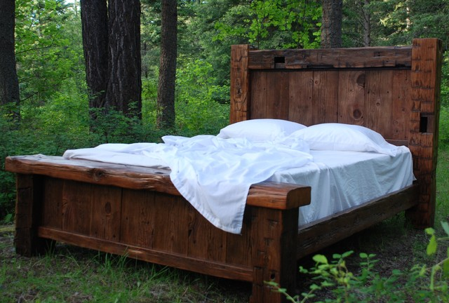 Custom Made Beds Image Gallery: Custom Reclaimed Hand Hewn Bed