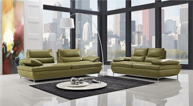 Naomi Modern Olive Green Leather Sofa Set Modern Living Room Furniture Sets New