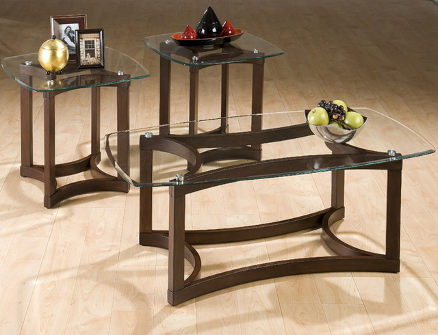 Jofran 107 bellingham brown 3 piece glass top occasional table set contemporary coffee One piece glass coffee table